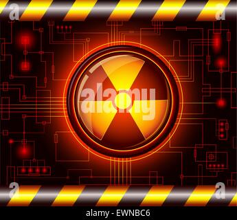 Glossy button with the sign of radiation.EPS8 - Stock Photo