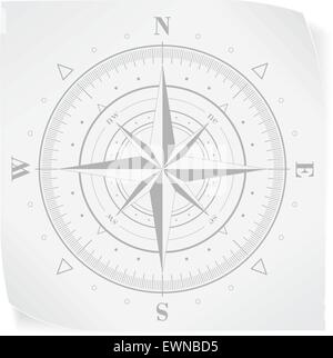 Compass rose over white paper sticker isolated on white. Vector EPS10. - Stock Photo
