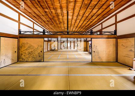 KYOTO, JAPAN - APRIL 9, 2014: The interior of the Kuri, the main building of Ryoanji Temple. - Stock Photo
