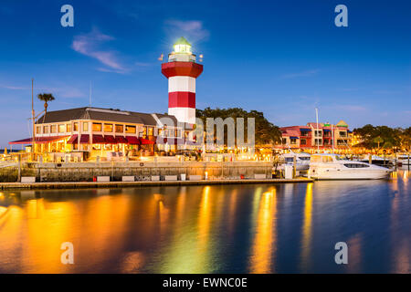 Hilton Head, South Carolina, lighthouse at twilight. - Stock Photo