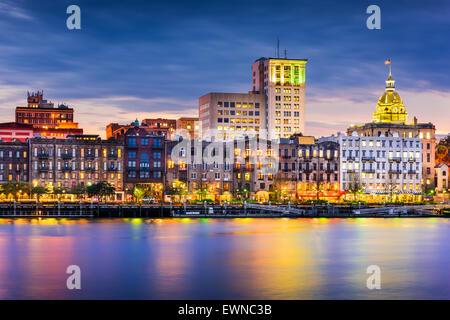 Savannah, Georgia, USA downtown skyline. - Stock Photo