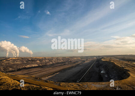 Brown coal opencast mining Garzweiler near Juechen, North Rhine-Westphalia, Germany, Europe - Stock Photo