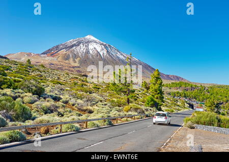 Tenerife - the Road TF-24, Teide National Park, Canary Islands, Spain - Stock Photo