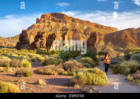 Nordic walking in Tenerife, Canary Islands, Spain - Stock Photo