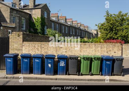 Wheelie bins in Cambridge, UK - Stock Photo