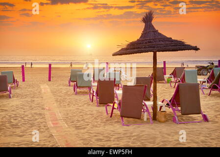 Agadir - sunset at the beach, Morocco - Stock Photo