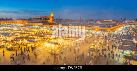 Marrakesh Medina - Jemaa el Fna Square in the night, Morocco, Africa - Stock Photo