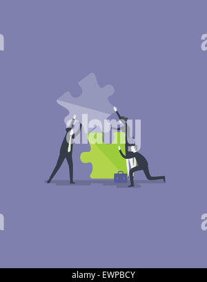 Business people fixing jigsaw piece for solution to collaborate or merge - Stock Photo