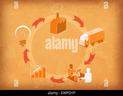 Business process cycle - Stock Photo