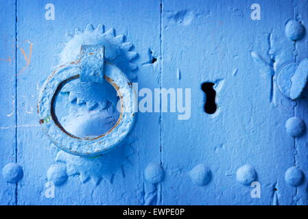 Door knocker, Chefchaouen (Chaouen) known as Blue City, Morocco, Africa - Stock Photo