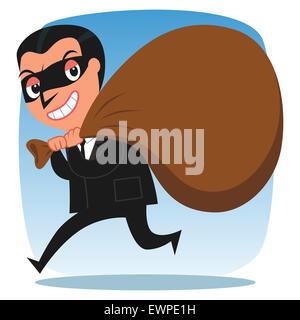 Business thief sneaking out with sack of wealth on his shoulder - Stock Photo