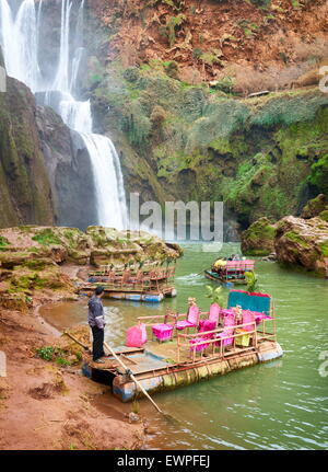 The raft waiting for tourists at the Ouzoud Waterfall. High Atlas, Morocco - Stock Photo