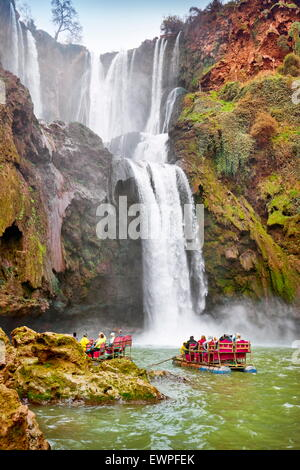Rafting at the Ouzoud Waterfall. High Atlas, Morocco - Stock Photo