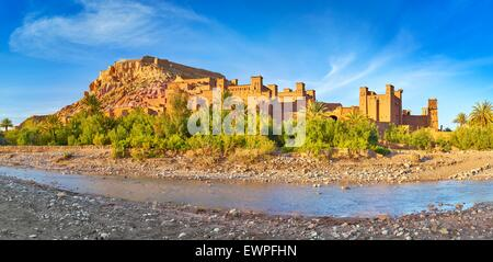 Panoramic view of Ait Benhaddou, Ait Ben Haddou, Kasbah, Ouarzazate, Morocco, Africa - Stock Photo