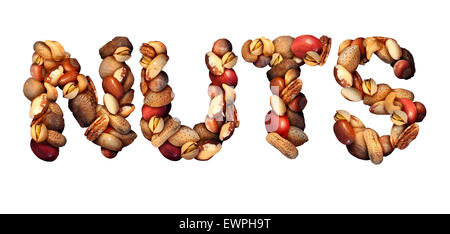 Nuts symbol as letters made with a mixed assortment of raw seeds pecan with walnut brazil nut peanut,hazelnut pistachio - Stock Photo