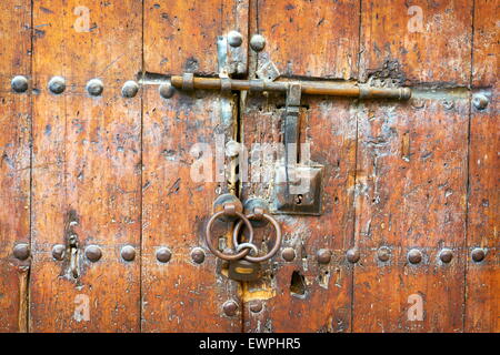 Fez - Historic wooden door in old house, Medina. Detail. Morocco, Africa - Stock Photo