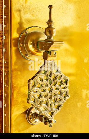 Decorative door knocker at the Royal Palace, Fez, Morocco, Africa - Stock Photo