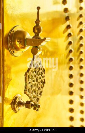 Fez Medina - decorative door knocker at the Royal Palace. Detail. Morocco, Africa - Stock Photo