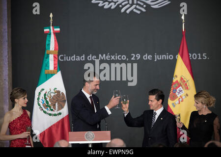 Mexico City, Mexico. 29th June, 2015. Photo provided by Mexico's Presidency shows Mexican President Enrique Pena - Stock Photo
