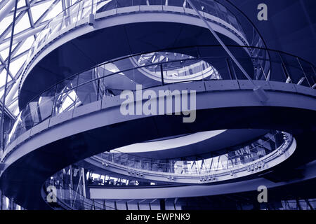LONDON - MAY 13 2015:City Hall, London England UK.A 500-metre (1,640 ft) helical walkway, reminiscent of that in - Stock Photo