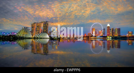 Singapore Skyline Panorama - Stock Photo