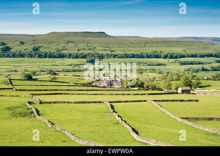 Addleborough and Askrigg village in Wensleydale in the Yorkshire Dales - Stock Photo