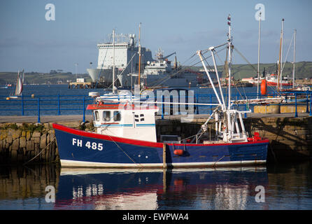 Small fishing boat at quayside, Custom House Quay, Falmouth, Cornwall, England, UK Stock Photo