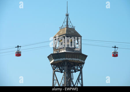 Tower cable way in Port Vell in Barcelona, Catalonia, Spain - Stock Photo