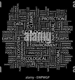 ECOLOGY. Word cloud concept illustration. Wordcloud collage. - Stock Photo