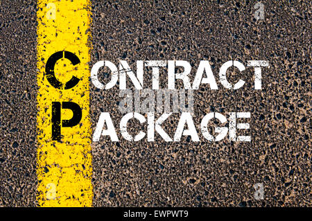 Concept image of Business Acronym CP as Contract Package written over road marking yellow paint line. - Stock Photo