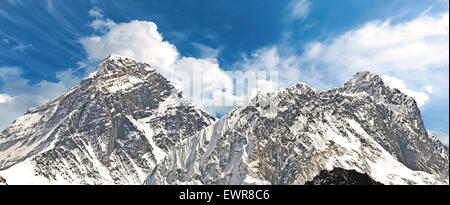 Panoramic view of Mount Everest (Sagarmatha), highest mountain in the world, Nepal. - Stock Photo