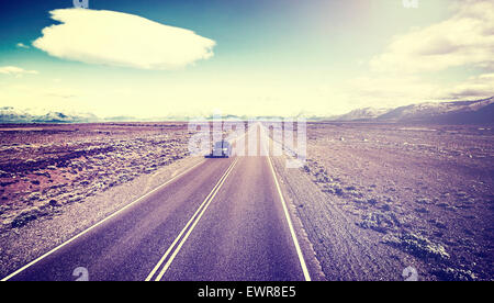 Retro old film style picture of country highway, Ruta 40 in Argentina, South America. - Stock Photo