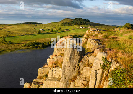 Highshield Crag and Crag Lough - Stock Photo