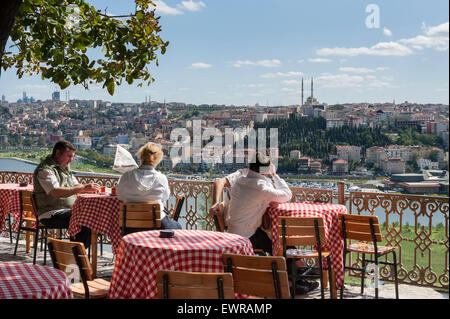 An expansive view of Golden Horn can be enjoyed with a drink at the Pierre Lotti Teahouse in the Eyup District of - Stock Photo