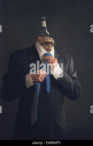 Symbol of alcohol in the workplace - Stock Photo