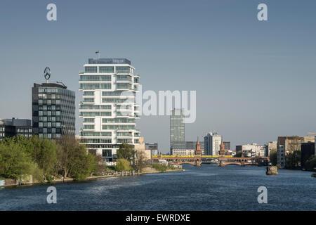 New Skycraper , Living Levels, Media Spree, Riverside Spree, Oberbaum Bridge, Friedrichshain, Berlin - Stock Photo