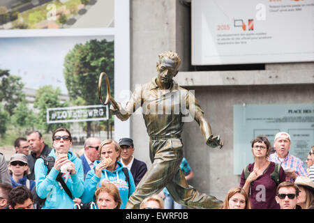 French Open,Roland Garros tennis tournament held on the red clay surface annually in May,June, in Paris, France. - Stock Photo