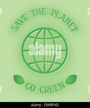 Environment conceptual poster - Save the planet, go green. Vector eps 10 - Stock Photo