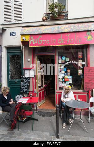 Paris,France,Au Grain de Folie,vegetarian,cafe,restaurant,Montmartre,hippy,hippie,quaint,small,vegan, - Stock Photo