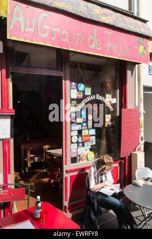 Paris,France,Paris,France,Au Grain de Folie,vegetarian,cafe,restaurant,Montmartre,hippy,hippie,quaint,small,vegan, - Stock Photo