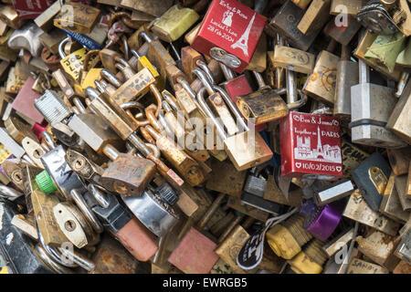Love padlocks on Pont de L'Archeveche,Archbishop Bridge.Photo a few days before city removed padlocks from Pont - Stock Photo