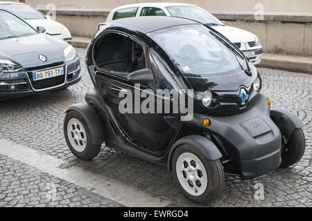 Paris,France,Renault,electric,mini,micro,micro car,car,Twizy,street,Paris,France - Stock Photo