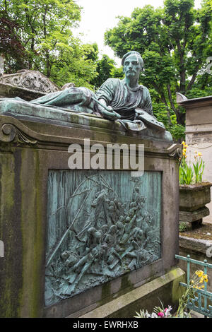Tomb of the painter Gericault, above his masterwork 'The Raft of the Medusa', in the Pere Lachaise cemetery in Paris, - Stock Photo