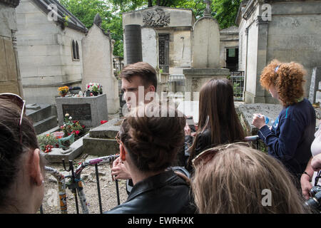 Jim Morrison grave,Paris,France,Pere,Lachaise,cemetery,Paris,Jim, Morrison,grave, - Stock Photo