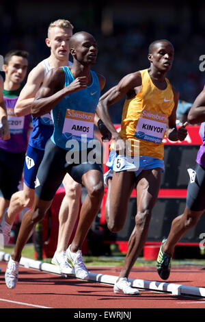 Nijel AMOS, Adam KSZCZOT, Job KINYOR, Men's 800m, IAAF Diamond League 2015, Alexander Stadium, Birmingham, UK, 7th - Stock Photo