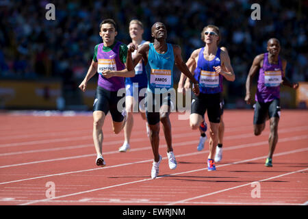 Nijel AMOS, Adam KSZCZOT Men's 800m, IAAF Diamond League 2015, Alexander Stadium, Birmingham, UK, 7th June 2015. - Stock Photo