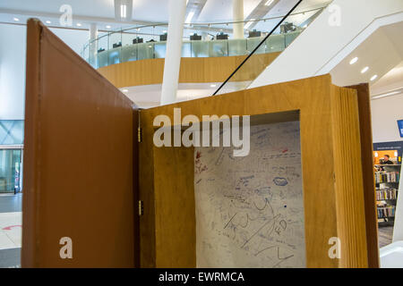 Education,Public art,writing,in,giant,Imagine book at Award winning Central Library,Liverpool,Merseyside,England, - Stock Photo