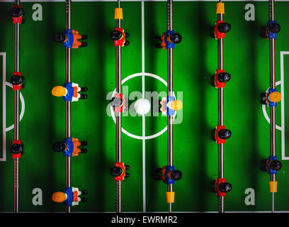 Table Soccer or Foosball Kicker Game, Top View, Selective Focus, Retro Tone Effect - Stock Photo