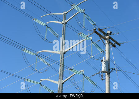 Old and new electrical line towers during sunny day - Stock Photo