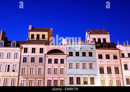 Market Place evening time - Old town - Warsaw, Poland - Stock Photo